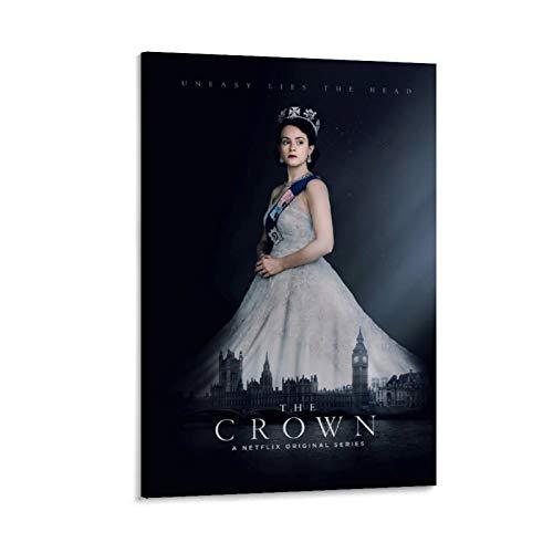 Megiri The Crown Season 4TV Póster de Elizabeth para pared, arte de acuarela de 20 x 30 cm, para decoración del hogar, oficina, sala de estar, marco estirado y enmarcado.