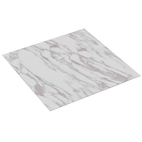 vidaXL PVC Laminat Dielen Selbstklebend Rutschfest Wasserfest Vinylboden Bodenbelag Designboden Vinyl Boden Dielen Planken 5,11m² Weißer Marmor