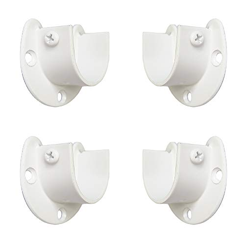 FYTRONDY White Edition Stainless Steel Closet Rod Bracket, U-Shaped Open Type Socket Bracket, Wardrobe Bracket, Shower Curtain Rod Pole End Supports Sockets Flange (1-1/4 INCH, 4 Pack)