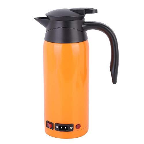 Electric Water Kettle 800ml 12V/24V Car Electric Kettle Heating Cup Portable Water Boiler amp Tea Heater Travel Tea Mug Truck Water Heating Cup BottleOrange