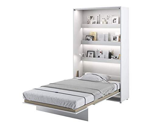 Schrankbett Bed Concept, Wandklappbett mit Lattenrost, V-Bett, Wandbett Bettschrank Schrank mit integriertem Klappbett Funktionsbett (BC-02, 120 x 200 cm, Weiß/Weiß Hochglanz, Vertical)