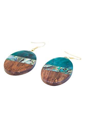 Pendientes de Hechos a Mano Madera Natural y Resina Jade con Coral Paua Redondos - Pendientes Verdes Inspiración Boho Hippie