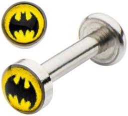 Officially Licensed Dc Comics Batman Bat man Shape Internally Threaded Labret Monroe lip tragus piercing bar body jewelry cartilage ring Surgical Steel 14 gauge 14g