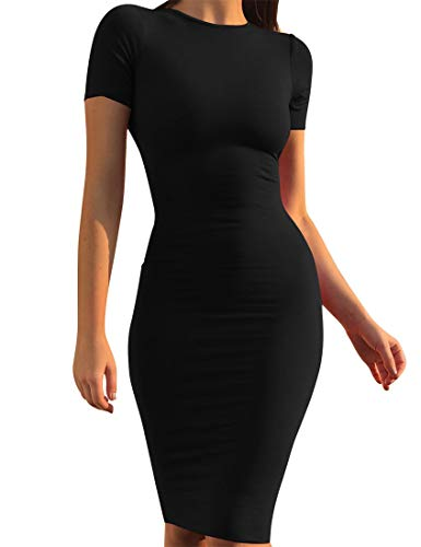 Mokoru Women's Casual Basic Pencil Dress Sexy Long Sleeve Bodycon Midi Club Dress, Large, Short Sleeve Black