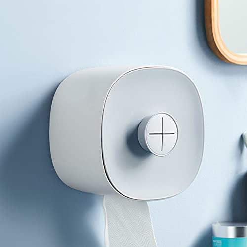 Portarrollos de papel higiénico, sin agujeros, autoadhesivo, portarrollos de papel higiénico con tapa, dispensador de papel higiénico impermeable para cocina o baño (azul)