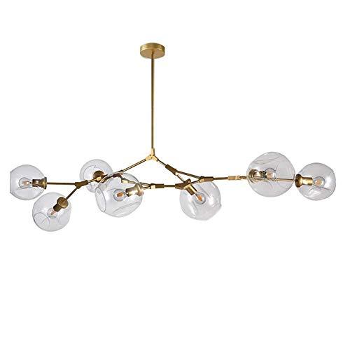 CCSUN Nordic Moderno Bola De Cristal Burbuja Lámpara De Araña, 7-luces Sputnik Rama Lámpara De Colgante Ajustable Mundo Girar Antiguo Soplado A Mano Vidrio Pantalla De Lámpara E26-dorado 7 Luce