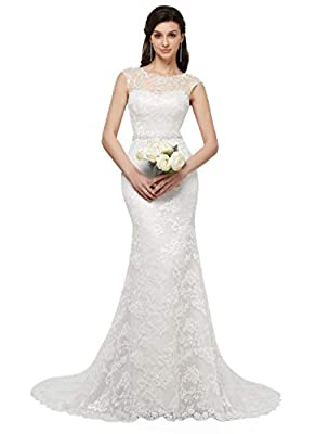 Clothfun Women's Illusion Long Sleeve V-Neck Lace Bridal Wedding Gowns 2 Style1 White