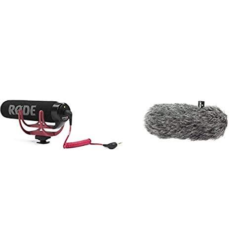 Rode Microphones VideoMic GoMicrófono de Condensador para cámara DSLR, Jack 3.5 mm, Color Negro + DeadCat GOFunda antiviento para micrófono, Color Gris