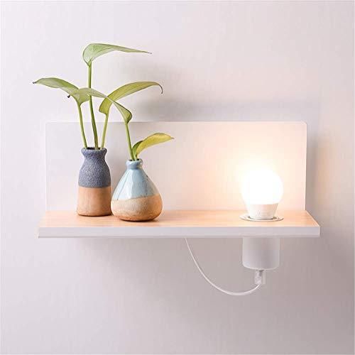 Wandleuchte Wandbeleuchtung Nachtlampe Mit Rechteck Holz-Ablage-Regal Design Indoor-Beleuchtung Moderne Einfache Kreative E27-Steckdose Weiße Backfarbe Schmiedeeiserne Wandlampe