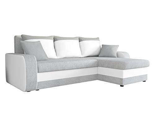 Ecksofa Kristofer Lux, Eckcouch Couch! mit Schlaffunktion, Zwei Bettkasten, Farbauswahl, Wohnlandschaft! Bettfunktion! Design L-Form Sofa! Seite Universal! (Enzo 162 + Rain 01.)