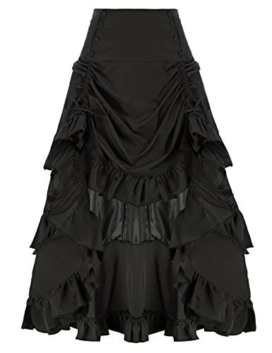Belle Poque Victorian Ruffled Skirt Steampunk Pirate Skirt Renaissance Costume Black L