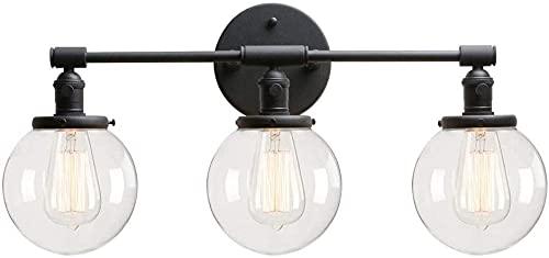 Lampada da parete a parete rotonda in vetro trasparente, vintage industriale antico antico parete da parete a 3 luci, rame/spazzolato/antico/nero lampada da parete decorativa, moderno apparecchi