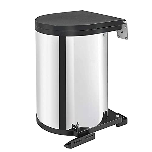 Rev-A-Shelf 8-010314-15 15 Liter Stainless Steel Kitchen or Bathroom Pivot Out Under Sink Cabinet Trash Waste Container, Stainless Steel