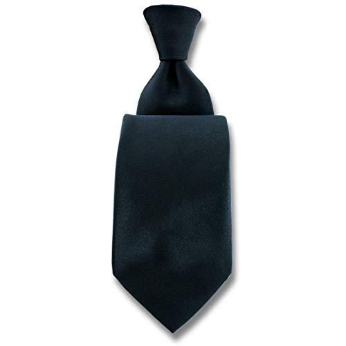Robert Charles. Cravate. Satin, Soie. Noir, Uni. Fabriqué en Italie.