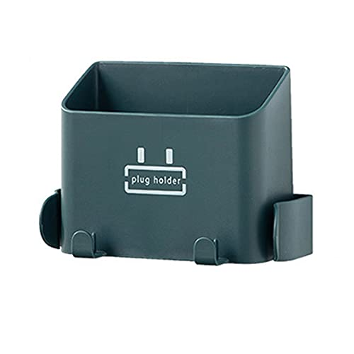 Jishu Caja de almacenamiento de control remoto multifuncional sin perforación montado en la pared teléfono móvil estante de carga enchufe almacenamiento gancho