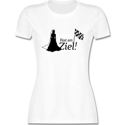JGA Junggesellenabschied Frauen - Fast am Ziel - XXL - Weiß - JGA Frauen Tshirt - L191 - Tailliertes Tshirt für Damen und Frauen T-Shirt