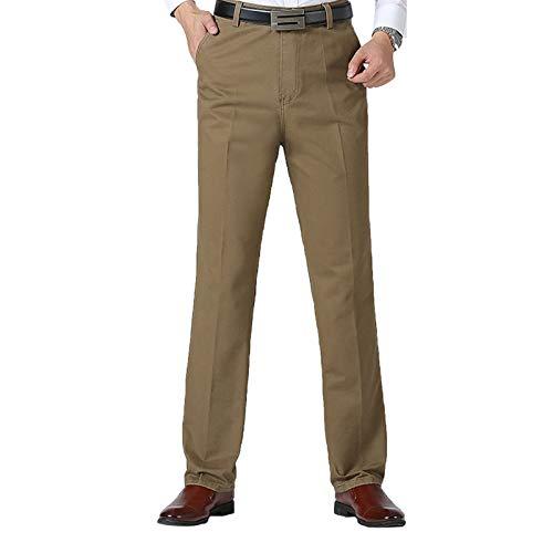 """WSLCN Herren Anzughose Männer Hose mit Bundfalte Pants Business Büro (Ohne Gürtel) Dicke Khaki Taille 34.3\"""" (Asie 33)"""