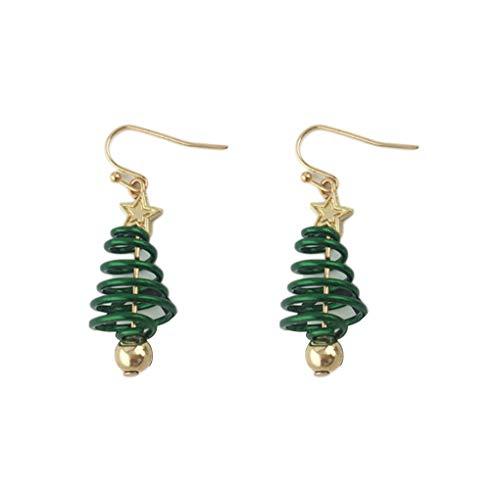 Kakiyi - 1 par de pendientes de metal con diseño de árbol de Navidad, para niñas