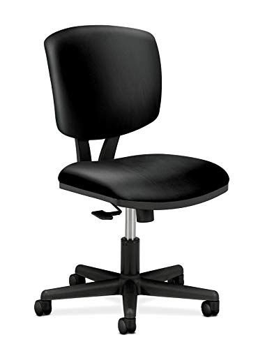 HON Volt Leather Task Chair - Computer Chair for Office Desk, Black (H5703)