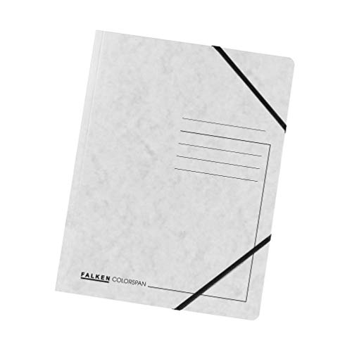 Original Falken 5er Pack Premium Eckspanner-Mappe. Made in Germany. Aus extra starkem Colorspan-Karton DIN A4 mit 2 Gummizügen weiß Sammelmappe Dokumentenmappe ideal für Büro und Schule