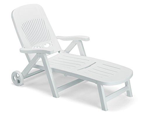 ARREDinITALY - Chaise longue pliante avec roulettes, en technopolymère blanc, avec dossier réglable, 100 % fabriqué en Italie.
