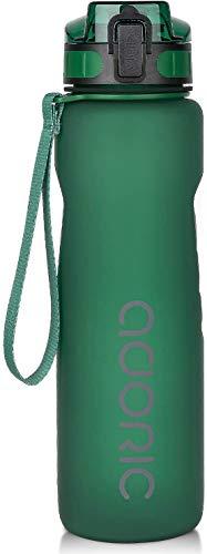 ADORIC Botella Agua Deporte Botella Agua Gimnasio Plastico con Filtro 500ml a 1000ml - No Tóxico sin BPA con Tapa Abatible (Verde Oscuro 1000ML)
