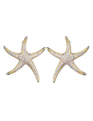 Cubic Zirconia Stud Earrings - Starfish Rhinestone Stud - Gold Plated Cute Dainty Diamonds CZ Stud Earrings