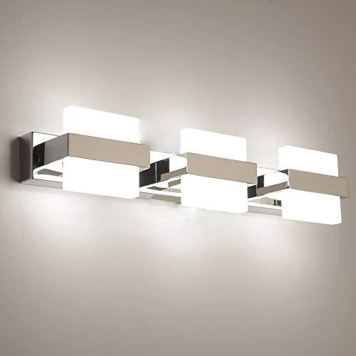 Temgin Spiegelleuchte LED 3 Flammig Badleuchte 18W 50CM Badlampe Spiegellampe Neutralweiß 4000K Badezimmer Lampe Chrom