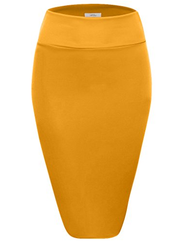 Scuba Pencil Skirt Midi Bodycon Skirt Below Knee Skirt, Office Skirt High Waist (Size XXX-Large, Mustard)
