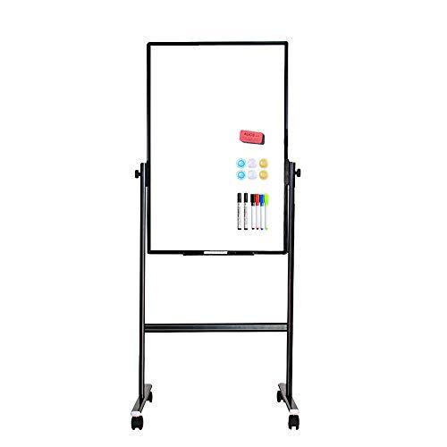 VIZ-PRO doppelseitiges magnetisches mobiles Whiteboard, höhenverstellbar, trocken abwischbares Board mit 6 Markern, 6 Magneten, 1 Radiergummi und 2 Haken, 90 x 60 cm, schwarz