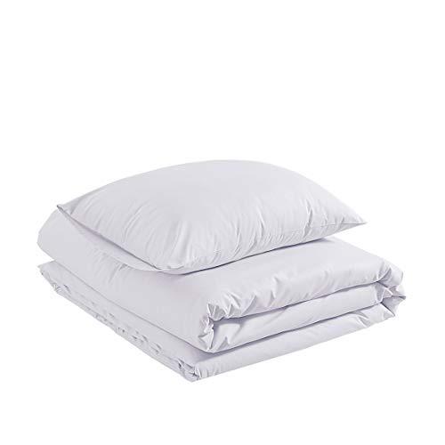 AmazonBasics Organic Sateen Cotton Duvet Comforter Cover Set, Twin / Twin XL, White Cotton Comforter Duvet Set