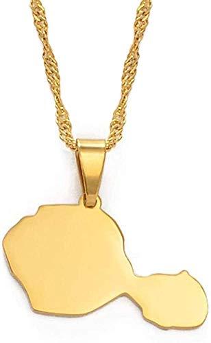 YOUZYHG co.,ltd Collar con Colgante de Mapa de Tahití, Collares para Mujeres y niñas, Color Dorado, joyería de Polinesia Francesa, Regalos, Collar de 60Cm