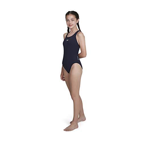 Speedo Mädchen Essential Endurance Plus Medalist Badeanzug, Blau (Navy), 152 (Herstellergröße: 30)