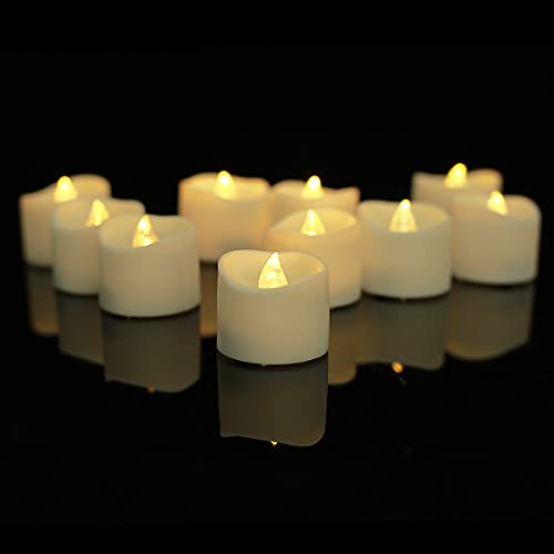 YHP Battery Operated Flameless Flickering Candle, Realistic and Bright LED Tea Light for Wedding, Table, Halloween, Christmas and Festival Celebration, Pack of 12 in Warm White.