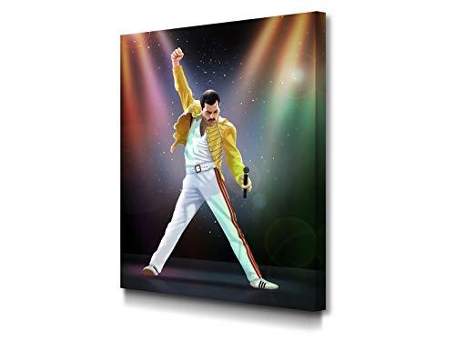 Foto Canvas Cuadro Freddie Mercury Decoracion Pared | Lienzos De Arte Moderno para El Hogar | 45 x 60 cm Listos para Colgar sobre Bastidor De Madera 3.6 CM