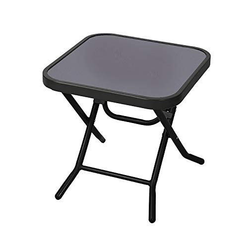 Janoon Folding Drinks Side Table Garden Patio Outdoor Coffee Table Black