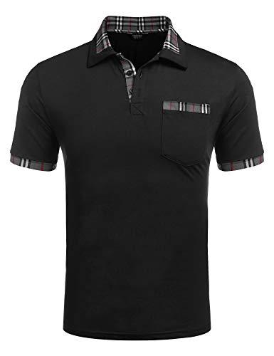COOFANDY Poloshirt Herren Polohemd Golf Polo Kurzarm Slim Fit Baumwolle Plaid Kragen Sport Sportstil Schwarz L