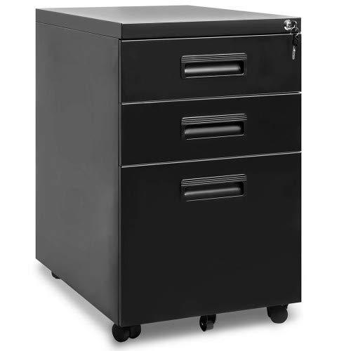 Derek Zone Rollcontainer, inkl. 3 Schübe, grundsolide Verarbeitung, optimal für Schreibtisch, Büromöbel, Schreibtisch Container