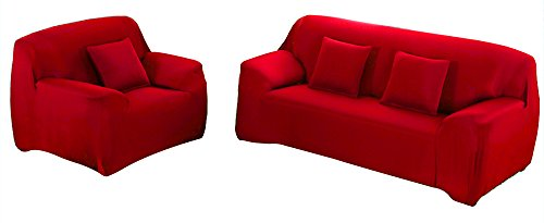 WOWTOY Sofa Cover 1 2 3 4 Seater Slip Cover Sofa Couch Stretch Elastic Fabric Sofa Protector (2 Seater, Red)