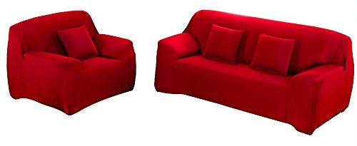 WOWTOY Sofabezug 1 2 3 4-Sitzer Schonbezug Sofa Couch Stretch Elastischer Stoff Sofaschoner (4-Sitzer, Rot)