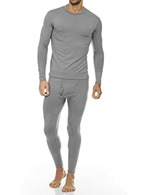 Thermajohn Men's Ultra Soft Thermal Underwear Long Johns Set with Fleece Lined (X-Small, Grey)