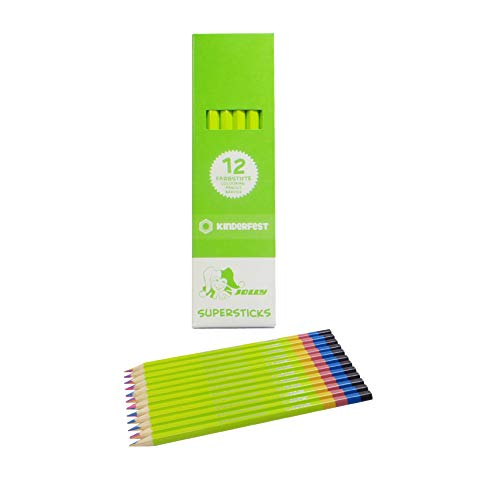 Jolly Supersticks Set of 12 Premium European 4-Color Rainbow Pencils; Orange/Green/Blue/Yellow, Perfect for Adult and Kids Coloring