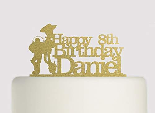 Verjaardagstaarttopper - Speelgoedverhaal Buzz en Woody Cake Topper - Aangepaste taarttopper - Gelukkige Verjaardag - Gepersonaliseerd met uw naam en leeftijd