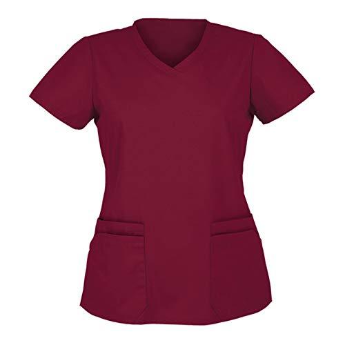 Damen Kurzärmeliges Pflegeoberteil V-Ausschnitt Tiermotiv Drucken Medizinische Kurzarm Berufsbekleidung Lässiges Tops T-Shirts Tuniken Blusen (S-Wein, XXL)
