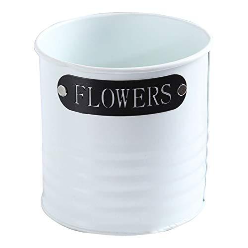 INFILM Iron Flower Pot, Metal Flower Bucket,Mini Barrel Succulent Planter Garden Flowerpot Ornament,Vintage Balcony Planter Fence Bucket Pot for Home Decor