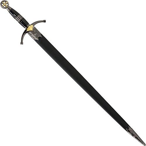 Dekowaffe Kreuzritterschwert, Kurzschwert mit Scheide, aufwändige Verzierungen