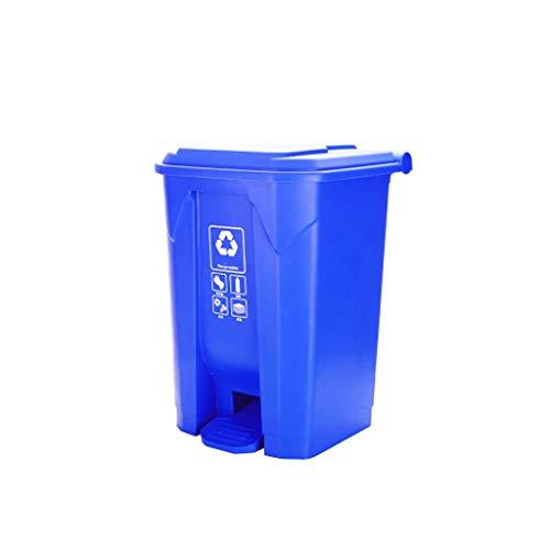 Jiji Bote de Basura Bote de Basura al Aire Libre Papelera de Basura Restaurante Parque de la Escuela Plaza Papelera Grande Cocina Verde Reciclaje de Basura Cubo de Basura (Color : Blue, tamaño : 50L)