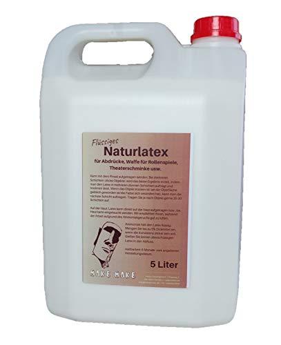 MakeMake | 5L Natur Flüssiglatex, Dünnflüssig mit 5% Dickmittel 250 ML | Latexmilch für Masken, Wunden, Narben, Sockenstopp | Perfekt für Halloween (Flüssiglatex, 5L Latex + 5% Verdickungsmittel)