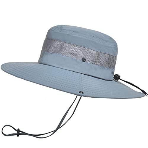 QIFFIY Sunhat Summer Transpirable Mess Sun Perrero Sombrero Hombre Pesca al Aire Libre Montajeerering Grandes Aleros Pescador Hat Mujeres (Color : Gris)