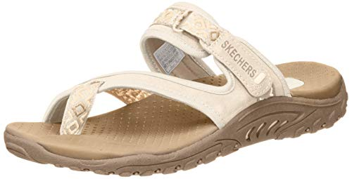 Skechers Cali Women's Reggae Trailway Flip Flop, Natural/Cream, 8 M US, Natural/Cream, 8 M US
